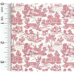 Brodnax Prints Dollhouse Wallpaper French Champagne Toile Red