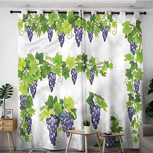 XXANS Window Curtain,Vine,Green Leaf Cluster of Berries,Blackout Draperies for Bedroom,W96x72L
