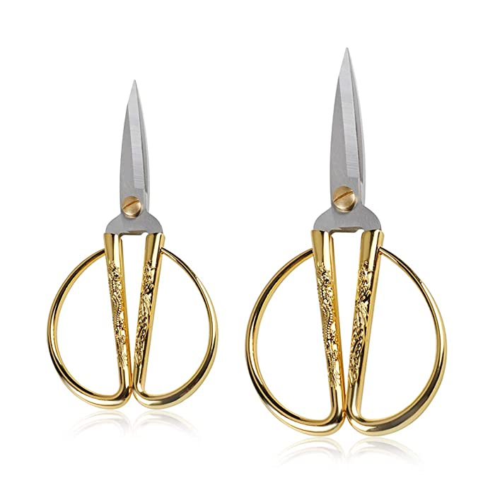 """Wasan Gold Plated Dragon and Phoenix Relief Design Bonsai Scissors, Chinese Shears Household Traditional Scissors for Sewing, Art Craft, Food Paper Cutting - 2 Packs (5"""" and 6"""")"""