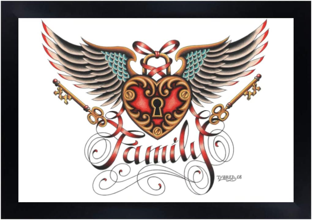 Amazon Com Family By Tyler Bredeweg Framed Art Print Vintage Traditional Tattoo Wings Crest Black Market Art Company Arts Crafts Sewing