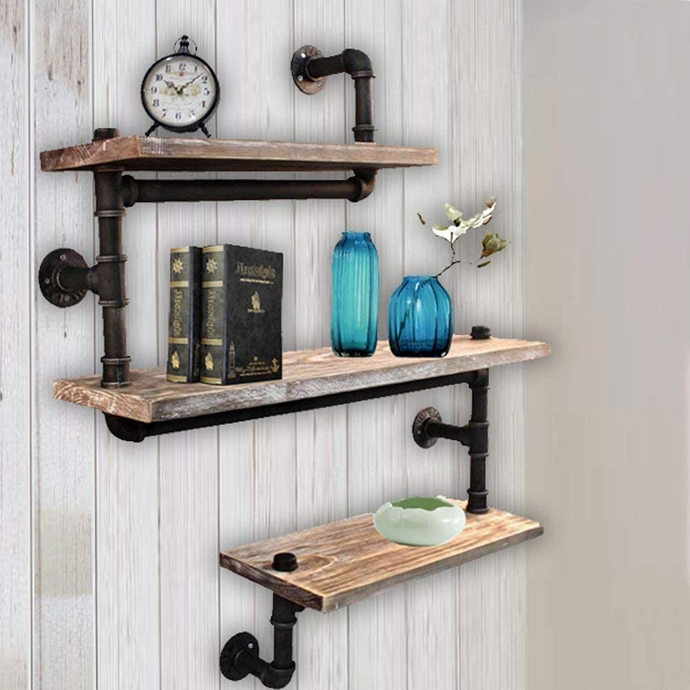FOF FRIEND OF FAMILY Reclaimed Wood & Industrial Heavy Duty DIY Pipe Shelf Shelves Steampunk Rustic Urban Bookshelf Real Wood Bookshelves and bookcases