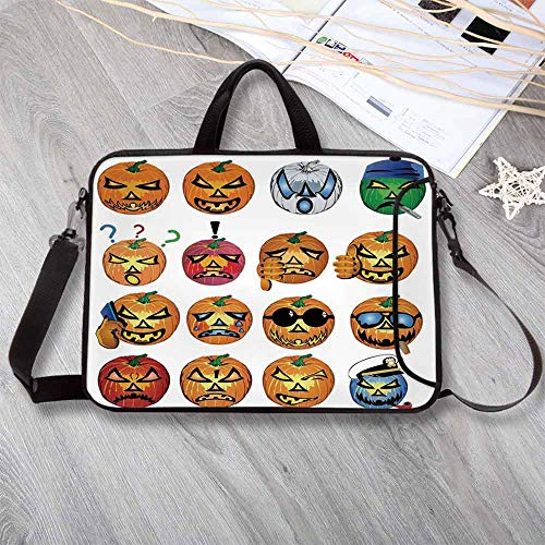 Halloween Decorations Lightweight Neoprene Laptop Bag,Carved Pumpkin with Emoji Faces Halloween Humor Hipster Monsters Art Laptop Bag for Laptop Tablet PC,17.3