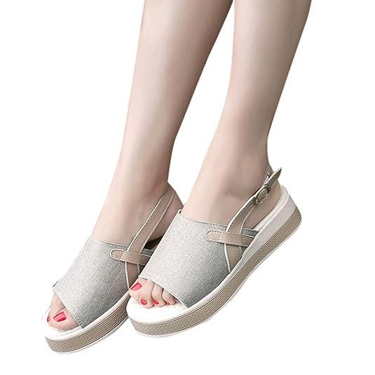 Amazon.com | Sandals Women Flats Women Vintage Roman Flat Sandals Buckle Platform Open Toe Platform Shoes Zapatillas Mujer # 3 | Flats