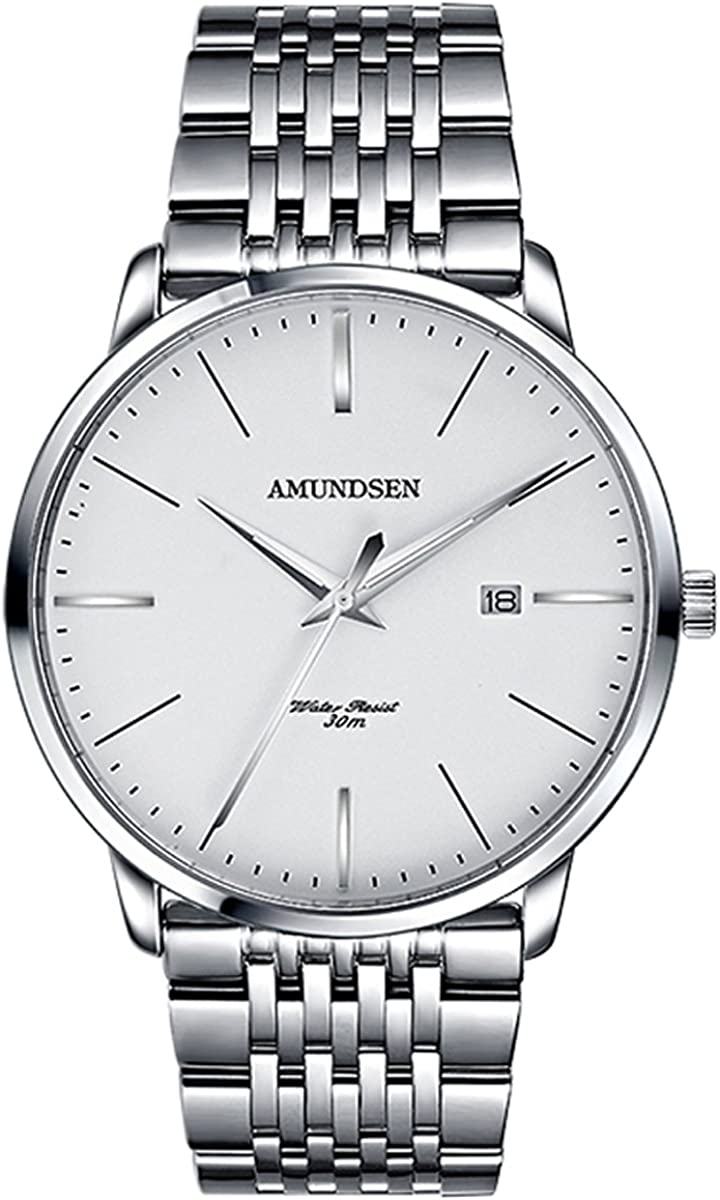 Amundsen Mens Japanese Quartz Ultra-Thin Wrist Watch – Classic Casual Watch with Stainless Steel Band,Waterproof 30M Water Resistant Comfortable Watches