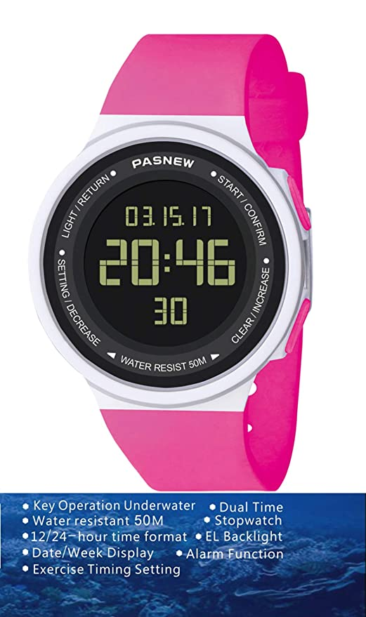Amazon.com: Pasnew-446 Sports Digital Watches Womens Kids Boys or Girls Watches Teenagers Students Watch with Alarm Stopwatch Multi-Functional Wrist ...