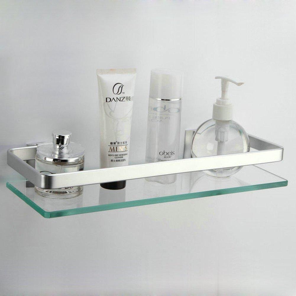 1 Tier Estante rectangular de aluminio y vidrio templado para montar en la pared del cuarto de ba/ño o la cocina marca HomeYoo