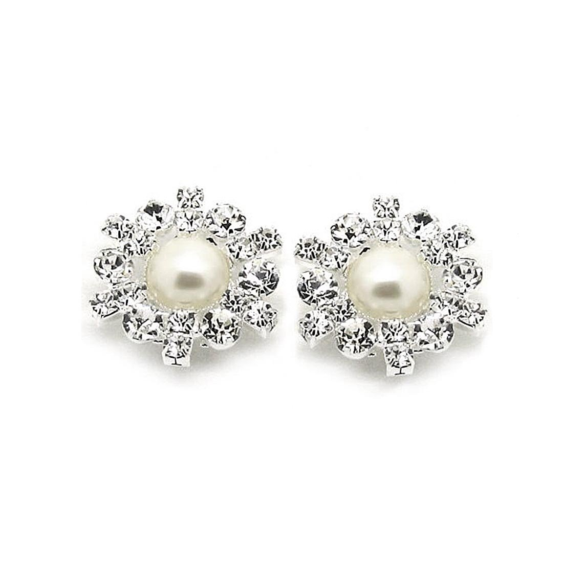 4feb6bdd836a Amazon.com  Wedding Shoe Clips Rhinestone Simulated Pearl Flower Bridal Pump  Sparkler  Charms  Jewelry
