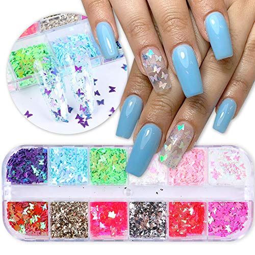Mrsyel 12 Boxes Butterfly Nail Art Holographic Glitter Nail Sequins Iridescent Foils Flakes Glitter Colorful Confetti Sticker Manicure Nail Art Supplies DIY Decals Resin Art Decoration (5-Butterfly)