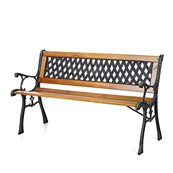 IKAYAA 50in Cast Iron Wood Outdoor Patio Park Garden Bench Furniture Deck  Porch Backyard Lawn Seat