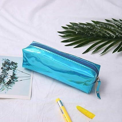 Estuche láser iridiscente de calidad de poliuretano, material escolar BTS, papelería, estuche de regalo, estuche escolar, bonito estuche de lápices BTS herramientas escolares, color azul: Amazon.es: Oficina y papelería