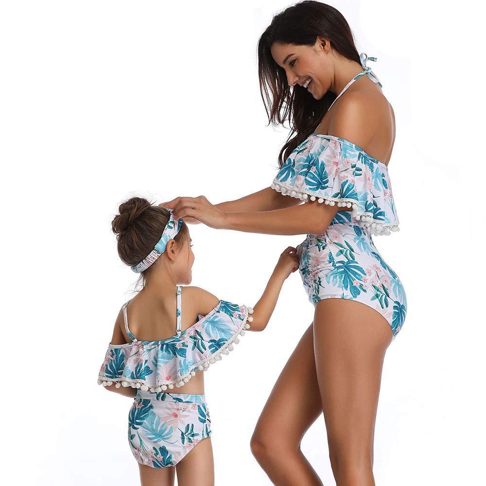 Vawal 2 St/ücke Mutter und Tochter Familie Badeanzug Damen Baby M/ädchen Neckholder R/üschen Bikini Top Bottom Bademode Strandkleidung