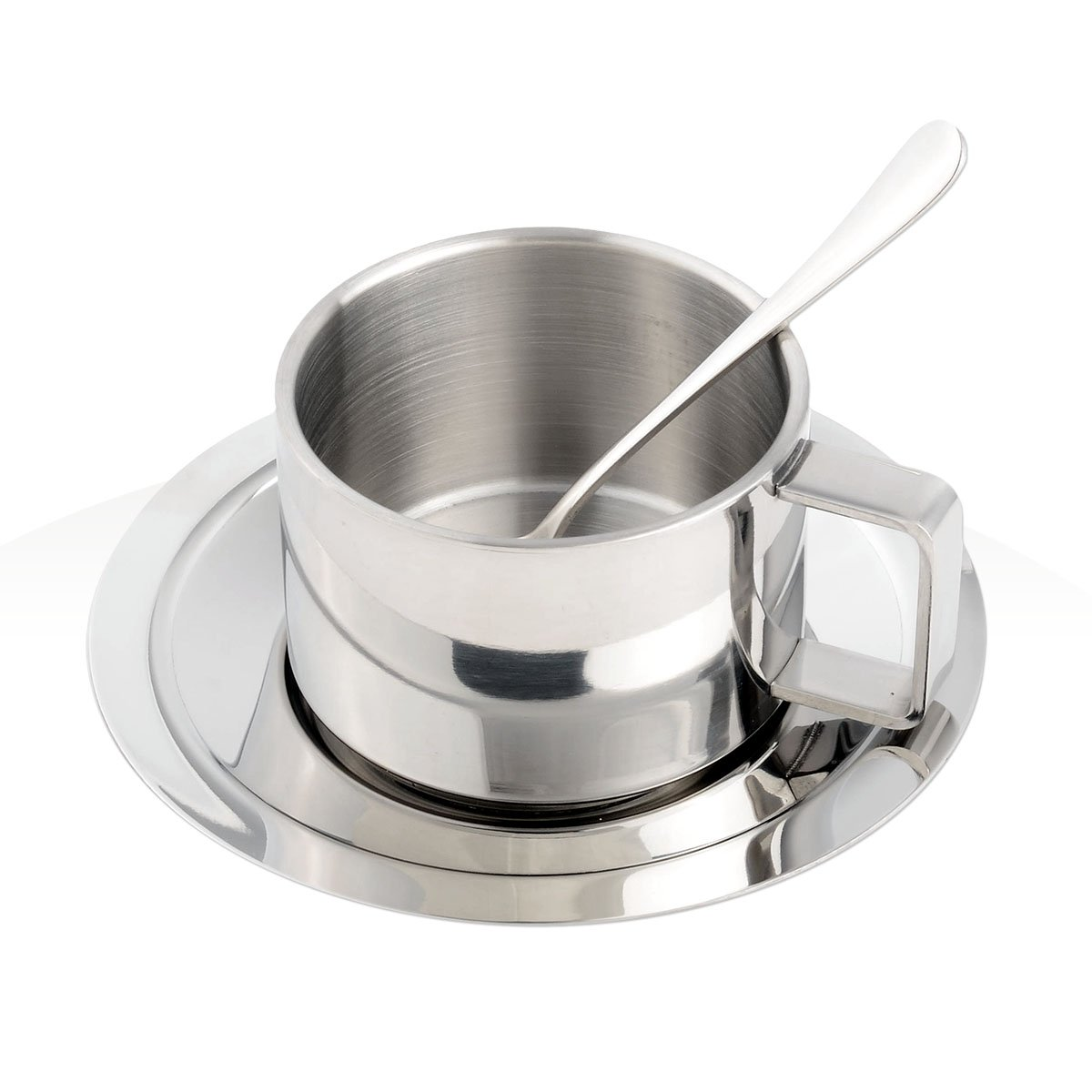 OUBORUI Stainless Steel Coffee Cup Set Coffee Mug Set with Stainless Steel Coffee Spoon and Plate