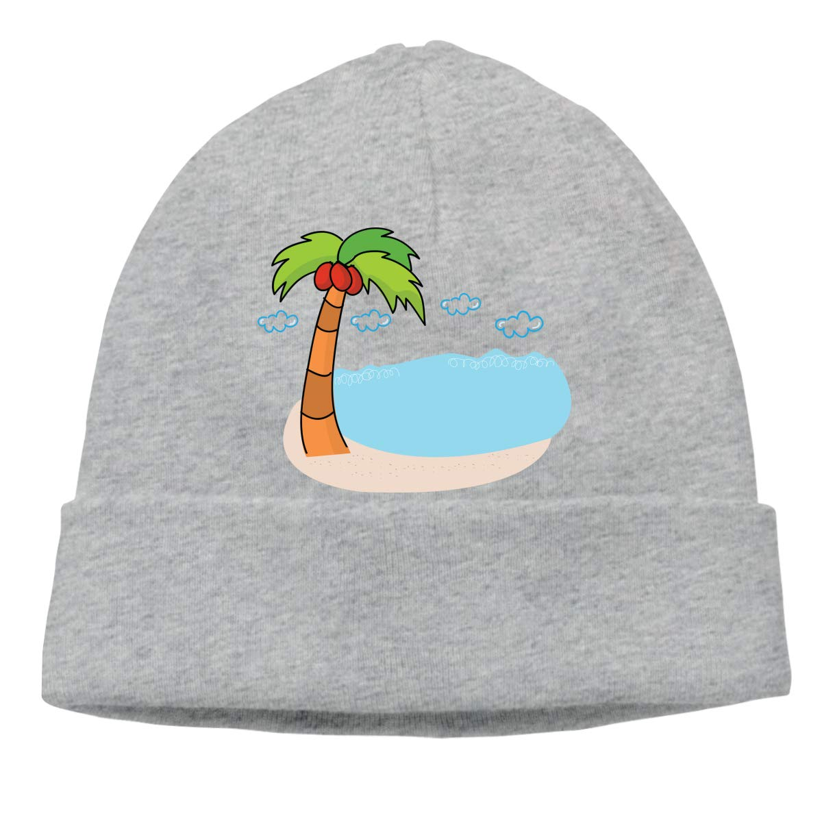 Mens and Womens Skullies Beanies A Palm Tree and Beach Fashion Toboggan Hat Sports /& Outdoors Warm Hat Gray