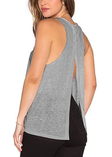 e5d7f4705e83 Yucharmyi Women s Sexy Backless Split Blouse Knit Summer Shirts Loose  Stretchy Tops (Gray