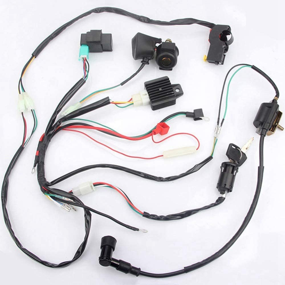 Bestlymood Atv Off-Road Vehicle Atv Wiring Harness Wiring Loom Cdi Ignition Coil Kill Switch Plug Reconstruction Kit for 50Cc 70Cc 90Cc 110Cc Full Car Line Electrical Combination