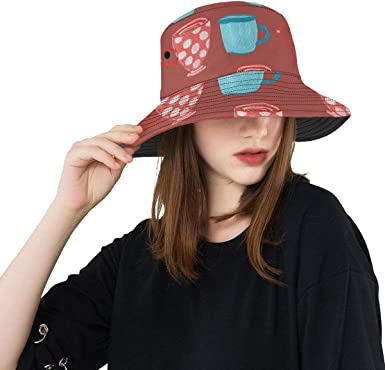 Coffee Cup Daily Drinking Supply Summer Unisex Fishing Sun Top Bucket Hats for Kid Teens Women and Men with Packable Fisherman Cap for Outdoor Baseball Sport Picnic