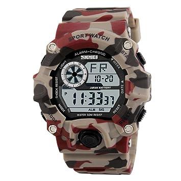 KOBWA Hombres Digital LED Deportes Reloj, Impermeable Electrónico Casual Reloj de Pulsera con Correa de Caucho para Estudiante, Camouflage Red: Amazon.es: ...