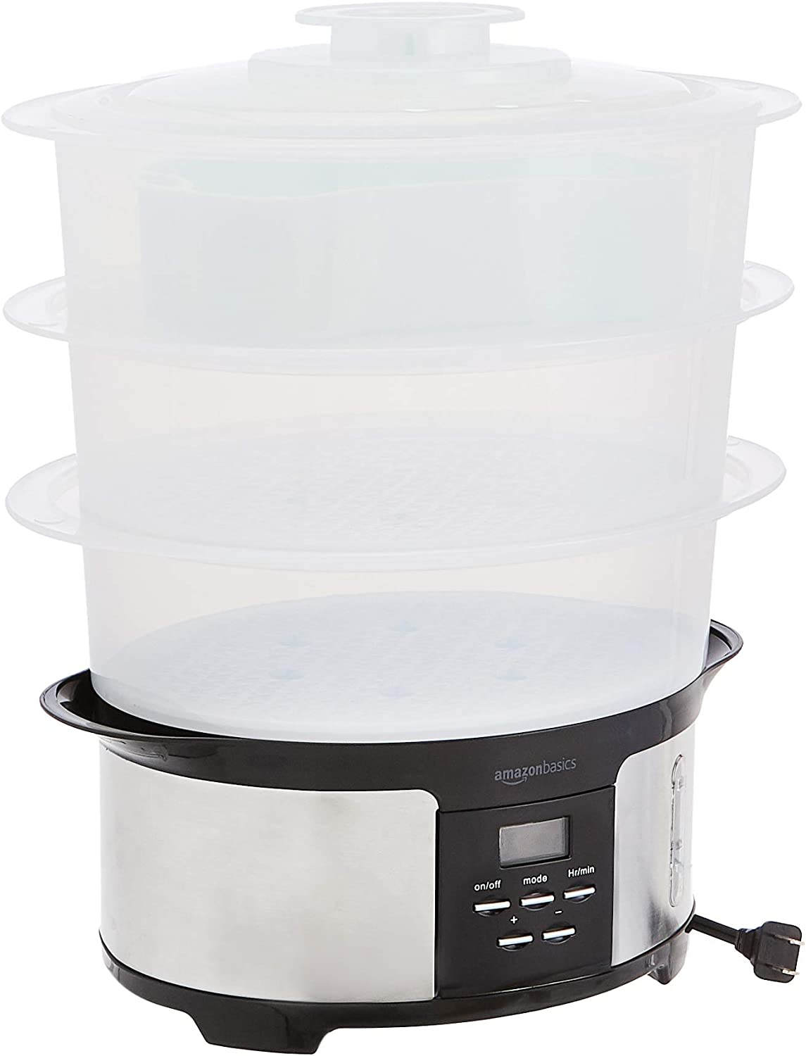AmazonBasics 12.5 Quart 3-Tiered Digital Food Steamer - Black & Stainless Steel