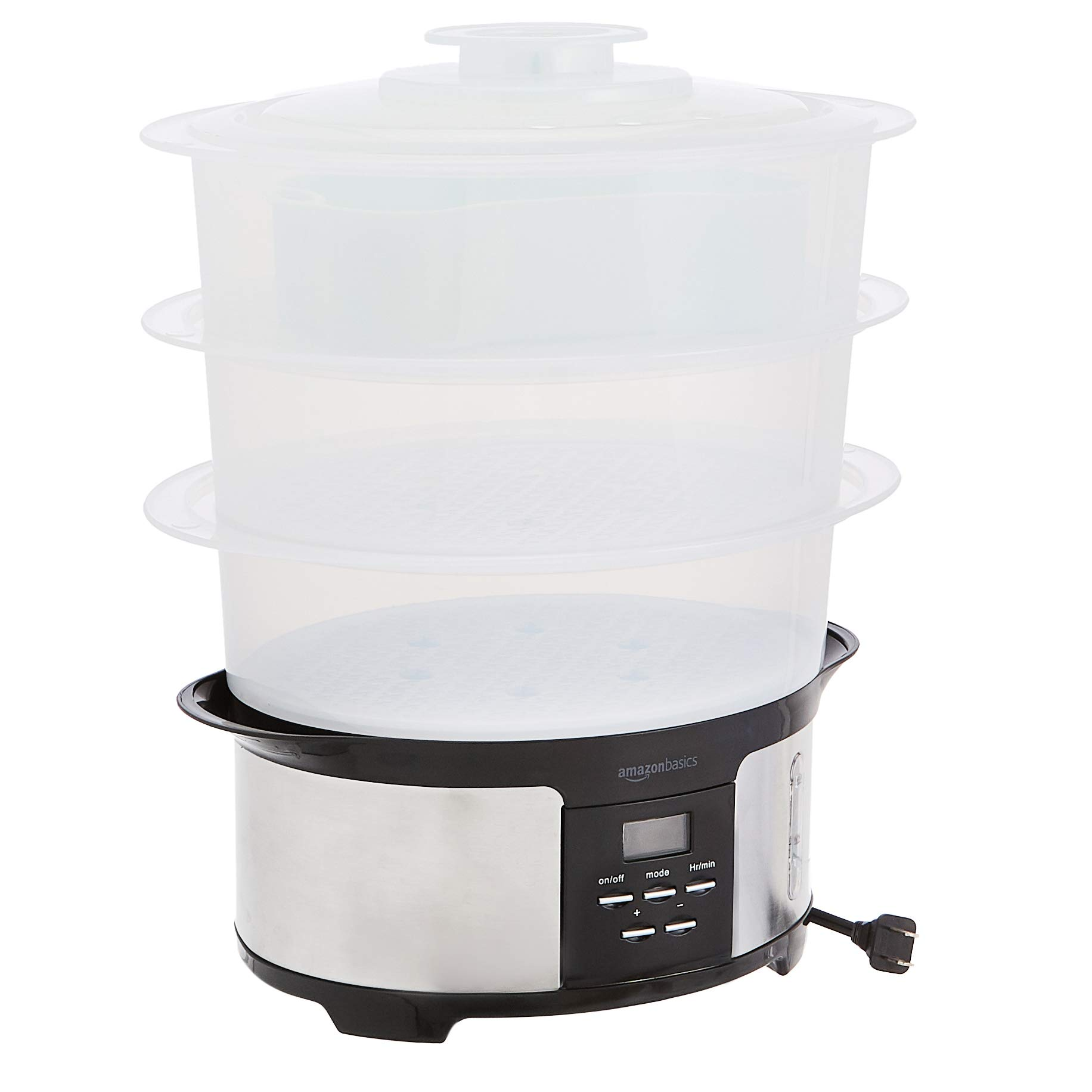 Amazon Basics 12.5 Quart 3-Tiered Digital Food Steamer - Black & Stainless Steel