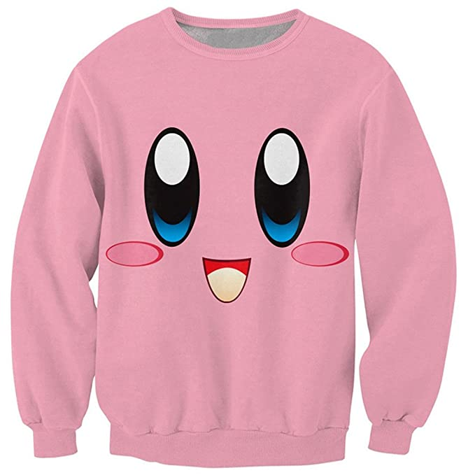 Sudaderas 3D Jumper de Hombre Kirby Face Crewneck Chubby Pink Character Sweats Hombres Cute Smlie Pullover Chándal: Amazon.es: Ropa y accesorios