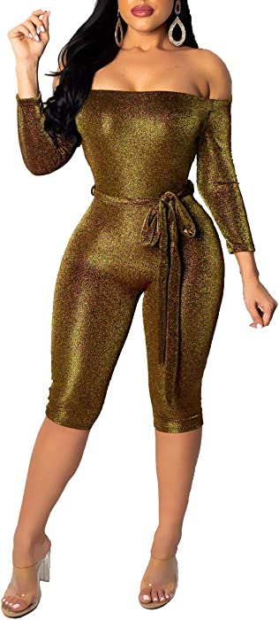 2e65a7a7996 Remelon Women Sexy Sparkly Glitter Off Shoulder 3 4 Sleeve Bodycon Romper  Short Jumpsuits with