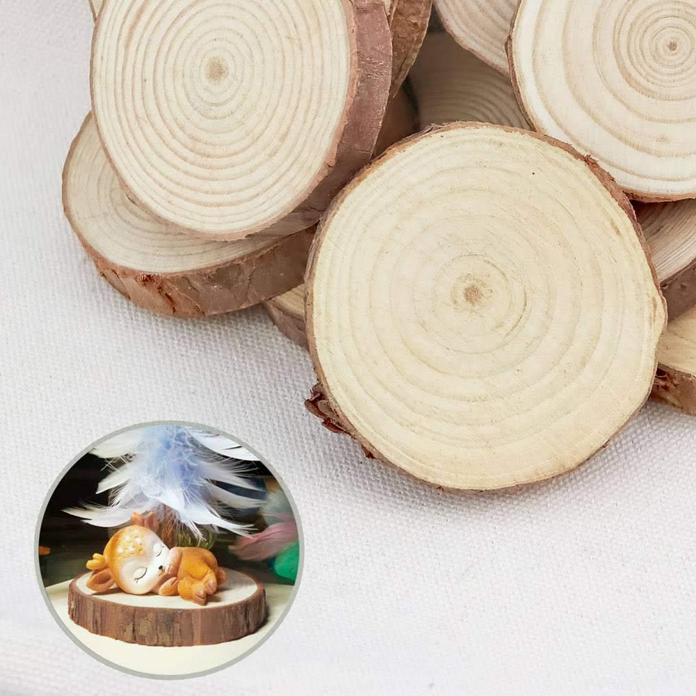 Disco de Madera Natural Maderas Naturales Perforado Con Corteza de /Árbol Para Manualidades y Decoraciones 4-5cm, 50 Pcs RUBY