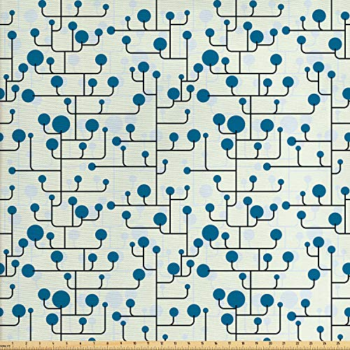 - Ambesonne Geometric Fabric by The Yard, Abstract Lines Dots of Many Sizes Modern Pattern Ornamental Minimalistic, Decorative Fabric for Upholstery and Home Accents, 1 Yard, Blue Eggshell Black