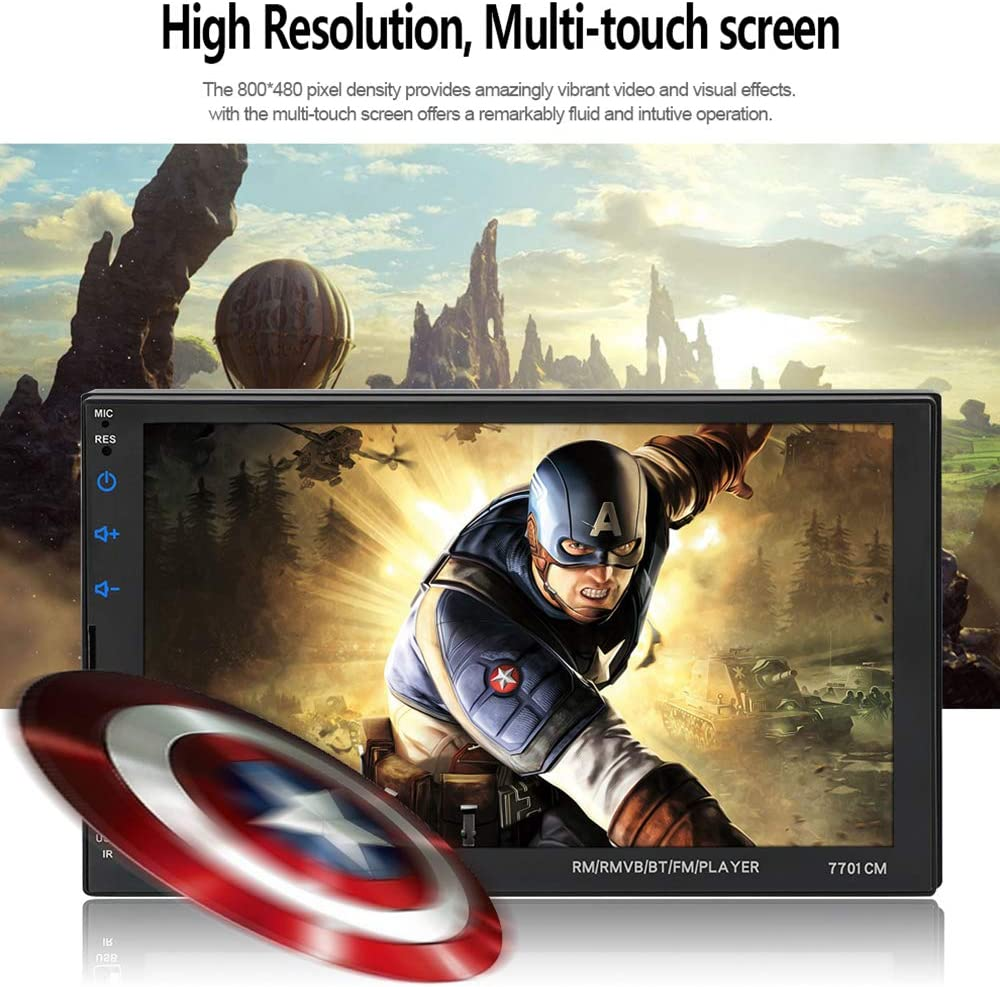 ASTSH Car Radio Touch Screen 7 Inch HD Double Din Car Stereo with Mirror Link FM Radio Steering Wheel Backup Camera Bluetooth Hands Free 2Din Car Stereo Support 1080P Video