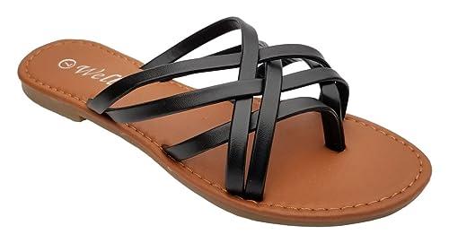 f8f2cc3df Elegant Women s Fashion Double Strap Black Flat Sandals Black 5