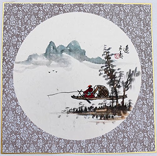 KZ164 Hmay Pre-mounted Soft Shikishi with Raw Xuan Paper / Chinese Shikishi for Sumie Painting and Brush Calligraphy 10 Sheets with Golden Trim and Purple Decoration (Square 33 cm, 12.99'') by Hmay Rice Paper