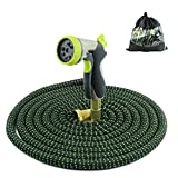 Xiaoqin 100 Ft Expandable Garden Hose Lightweight Garden Water Hose With 3/4 Inch Solid Brass Fittings Durable Outdoor Gardening Flexible Hose For Yard Expanding Garden Hoses 9 Function Spray Nozzle