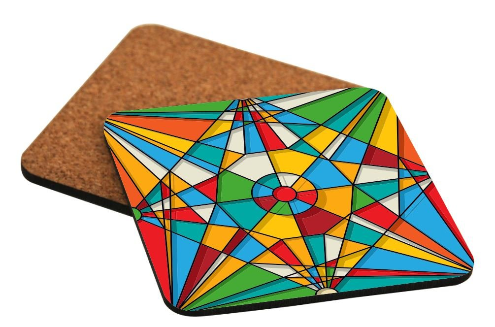 Rikki Knight Abstract Stained Glass Window Design Design - Cork Backed Hard Square Beer Coasters (x4)