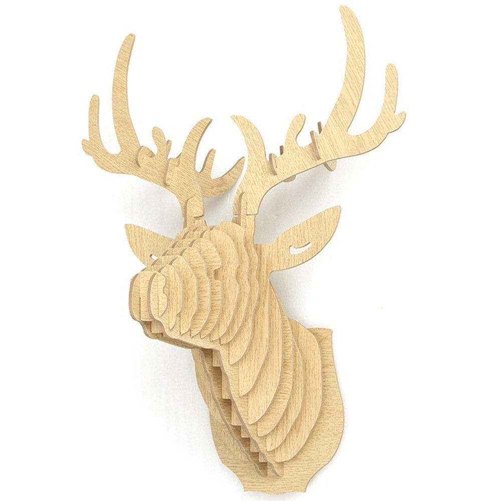NBHUZEHUA Modern DIY Puzzle Model Wooden Deer Head Wall Hanging ...
