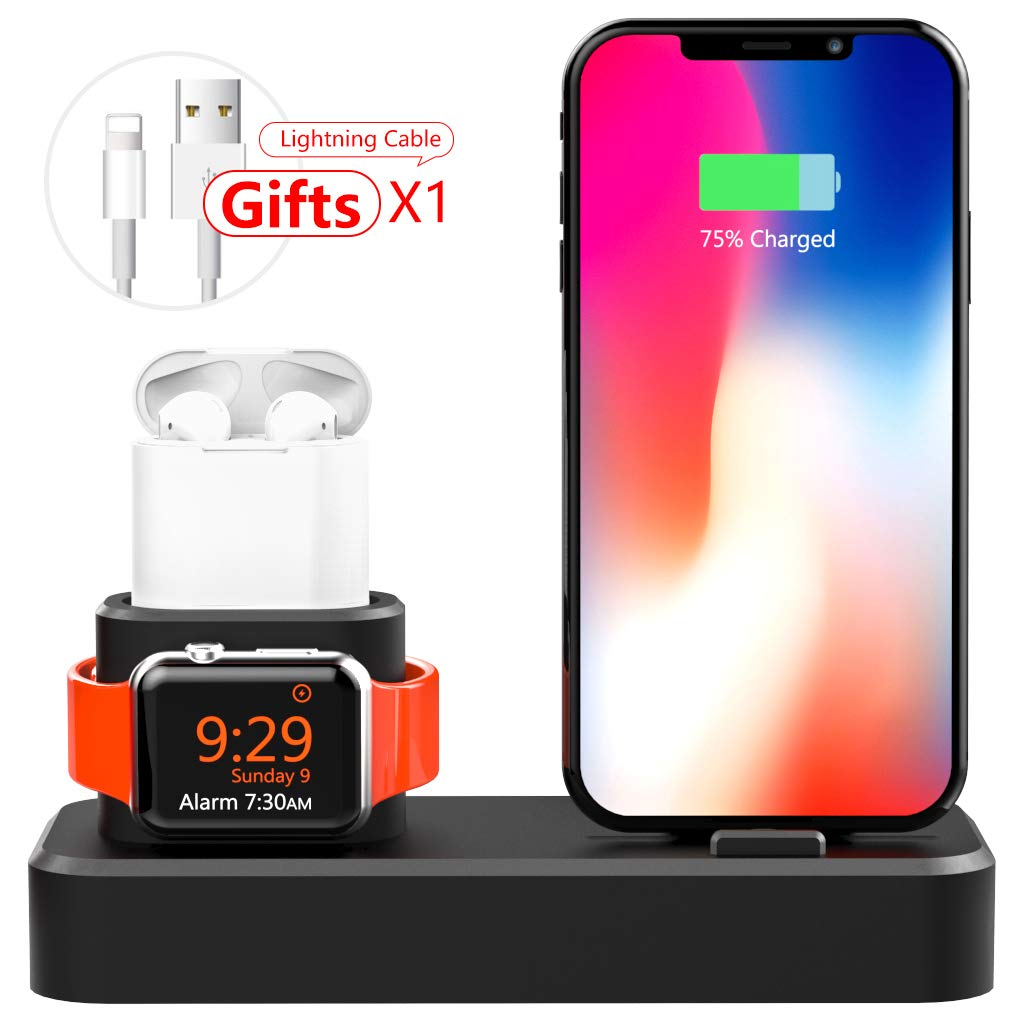 AODUKE 3 in 1 Silicone Charging Stand for Apple Watch/iPhone and AirPods,Charger Stand Dock Station for Apple iWatch Series 4/3/2/1 /AirPods/iPhone ...