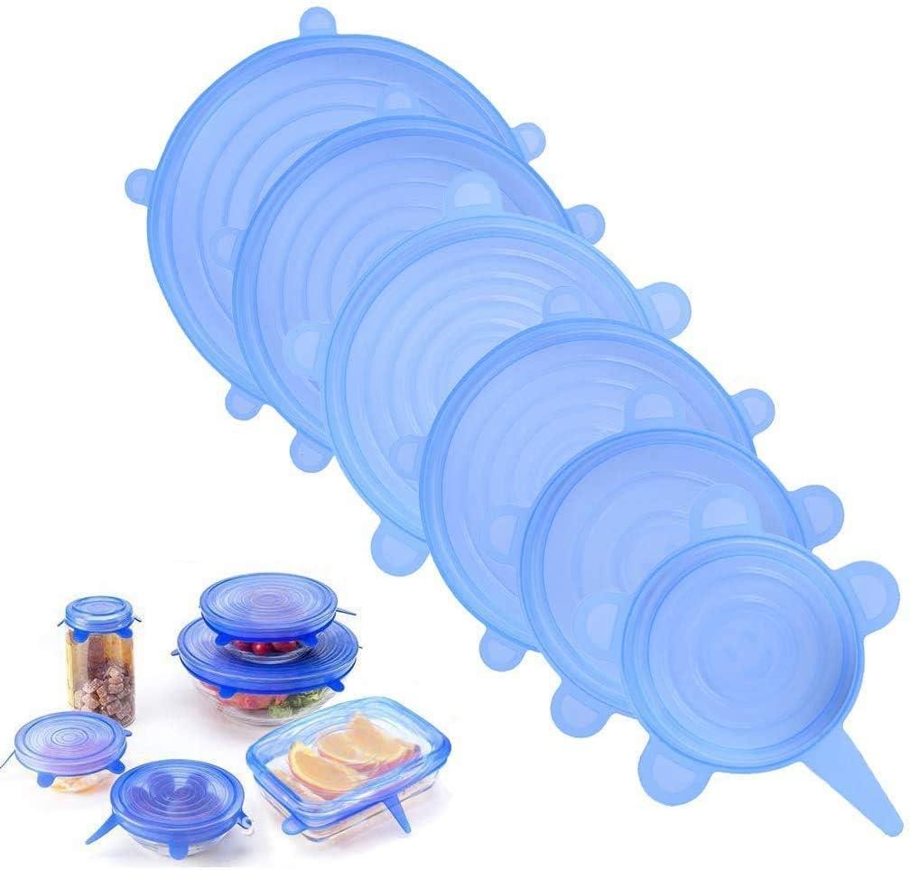 T/öPfe 12 Packs Blau Dehnbare Silikondeckel 12 Teiliges Silikon Stretch Deckel Gl/äSer Dosen BPA Free Wiederverwendbar Silikon Abdeckung Universal Silikon-Frischhalte-Deckel f/ür Sch/üSseln Becher