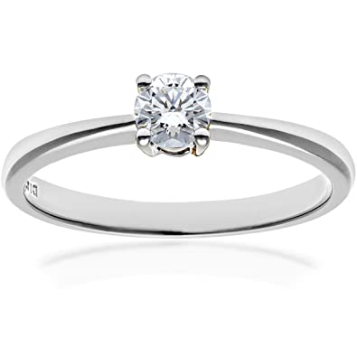 Naava 9 ct Gold Round Brilliant IJ/I Certified Diamond Solitaire Engagement Ring BW5rZ