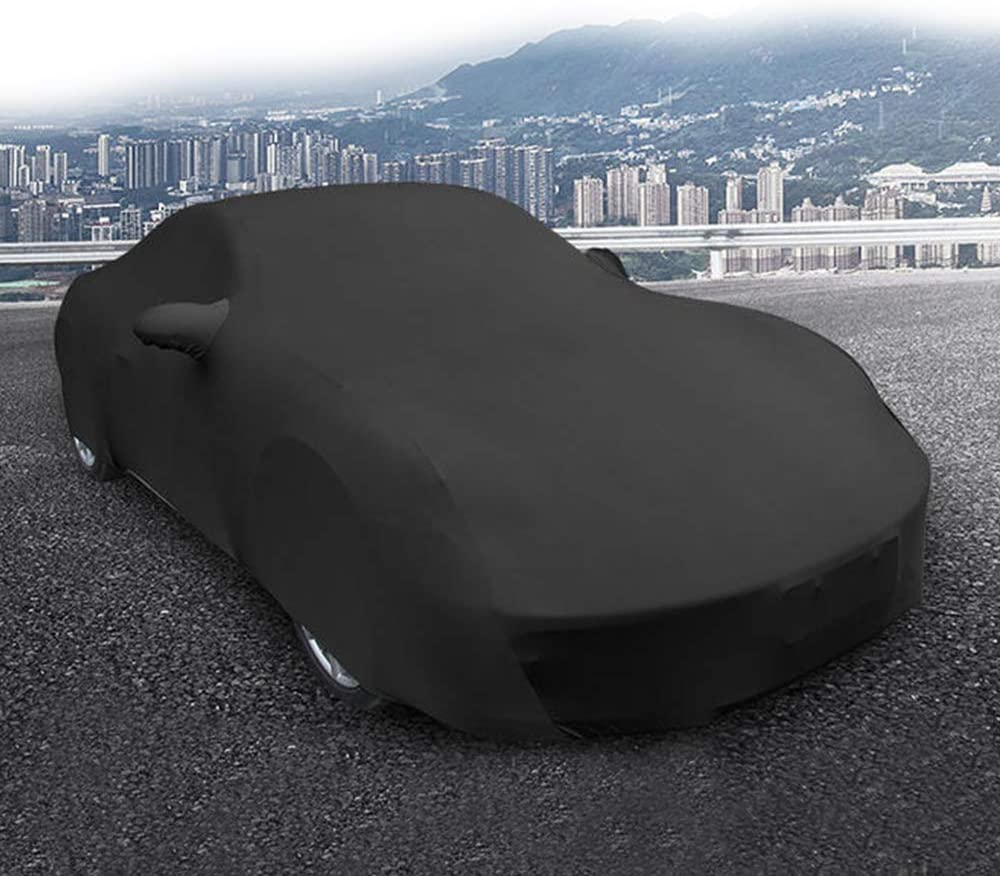 SLanguage Indoor Car Cover Velvet Stretch Dust-Proof Protection Full Car Cover for Underground Garage Black 5.2-5.6m Car Show