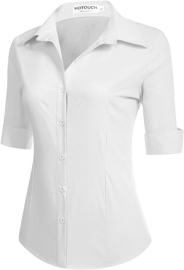 Hotouch Womens 3//4 Sleeve Basic Button Down Shirt Slim Fit Cotton Dress Shirts