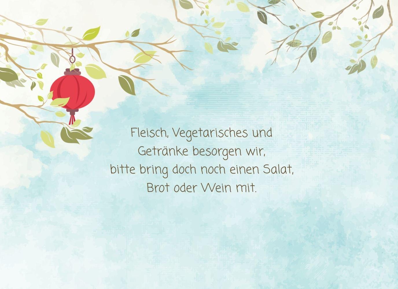 Einladung Einladung Einladung Sommerfest Garten Lampions, 20 Karten, Hellgruenblau B073W8JZ28   Düsseldorf Eröffnung    Räumungsverkauf    Feinen Qualität  6cd956
