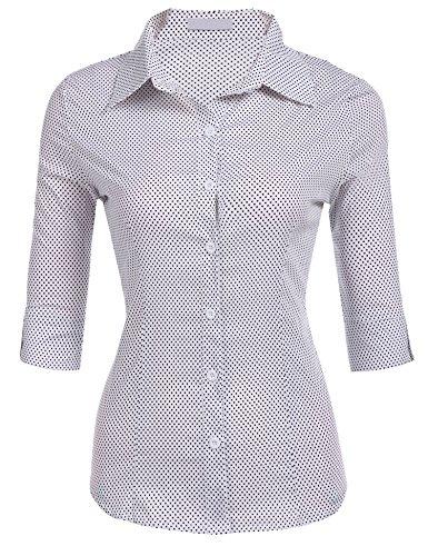 3/4 Sleeve Oxford Shirt (Misakia Womens Basic 3/4 Sleeve Cotton Button Down Shirt (White Polka Dot L))