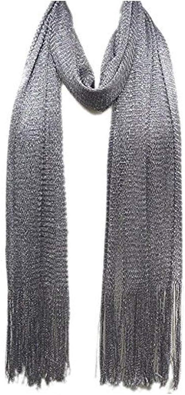 Elegant Glitter Metallic Lightweight Long Neck Scarf