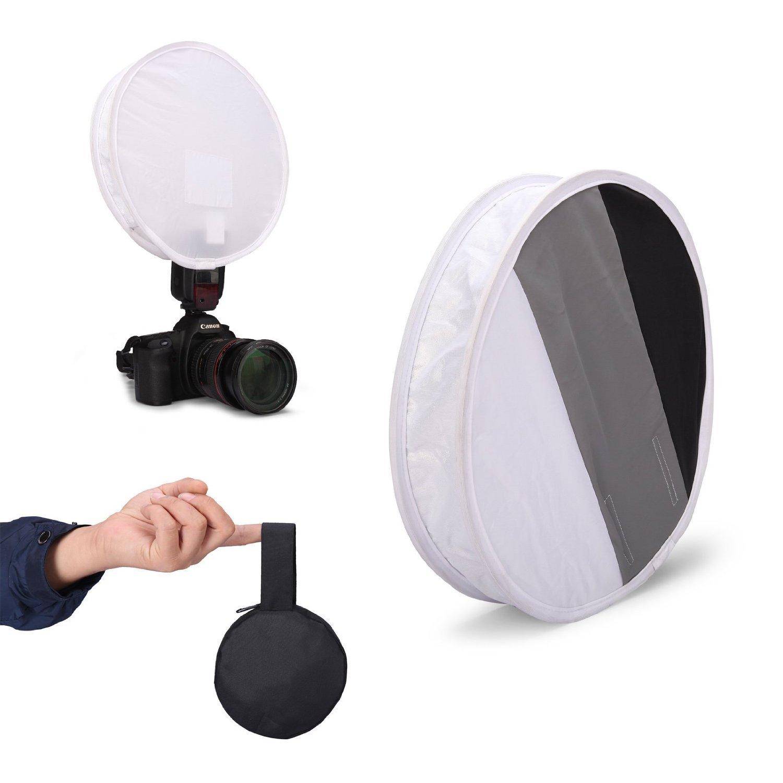 Fomito 31cm Round Compact Flash Diffuser Softbox & Grey / White / Black Card Board White Balance on DSLR Camera COMINU069918