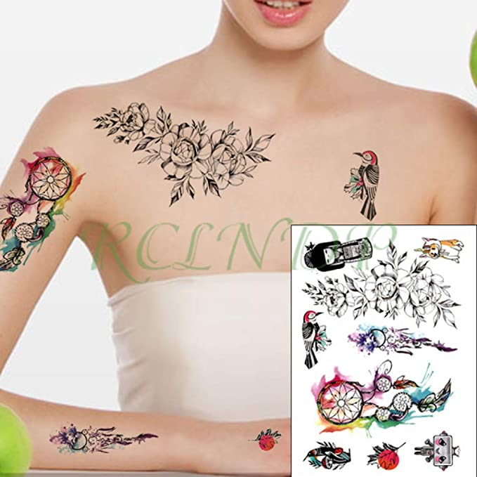 Handaxian 3pcsWaterproof Tattoo Sticker Red Rose Leaf Geometric ...