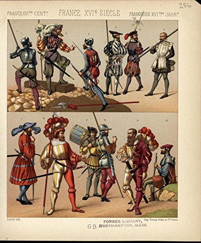 Knights Weapons Spears Armor France nice c. 1888 antique chromolithograph ()