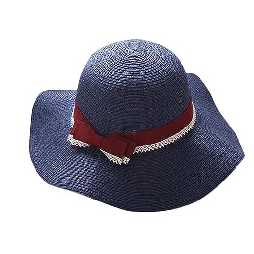 Xuxuou Sombrero de Viaje al Aire Libre Sombrero de Paja Playa ...