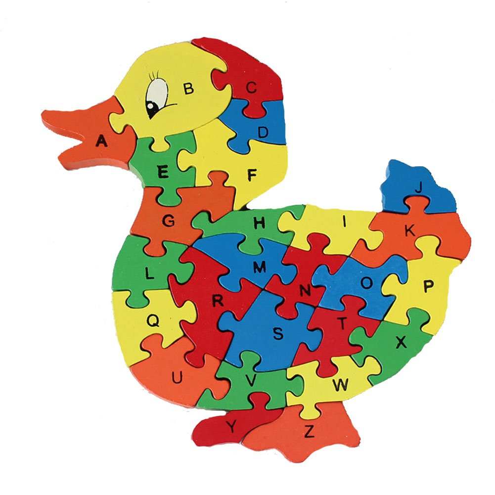 Wooden Duck Puzzle Toy Brain Games for Kids , Wood Letters and Numbers Jigsaw Toy Educational Toys for Age 3 4 5 Years Old and Up Baby Children Preschool Toddler Boy Girl, Birthday Gift (26 Pcs)