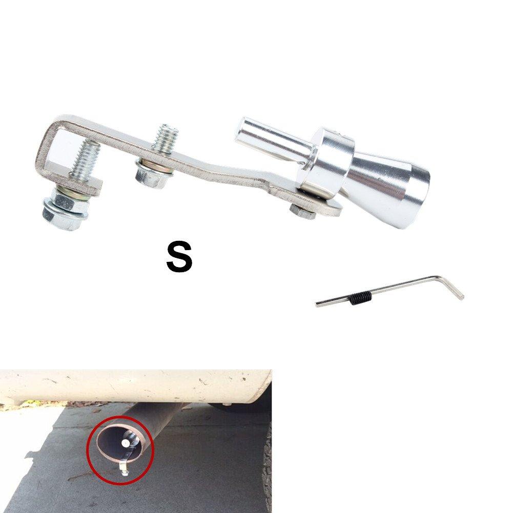 S, Black Dewhel Universal Aluminum Turbo Sound Exhaust Muffler Pipe Whistle Car Blow off valve BOV Tip Simulator Whistler