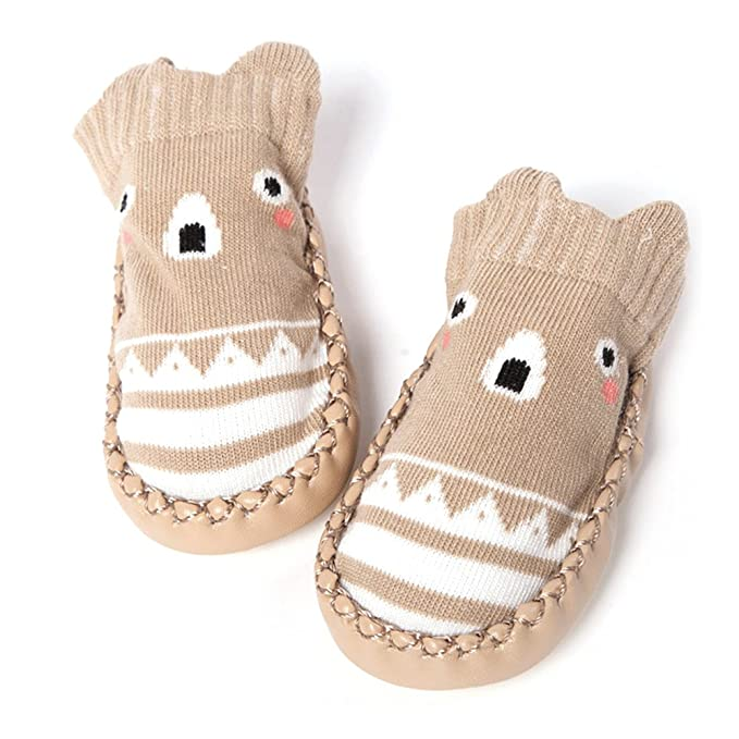 Vococal Calcetines de Bebé, Algodón Bebé Niños Zapatos de Piso Zapatos Botas Zapatillas con Fondo