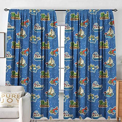 Living Room Curtains Kids,Cute Toys Pattern Train Sail Boat Airplane Children Baby Playroom Art Design,Violet Blue Yellow,All Season Thermal Insulated Solid Room Drapes 100