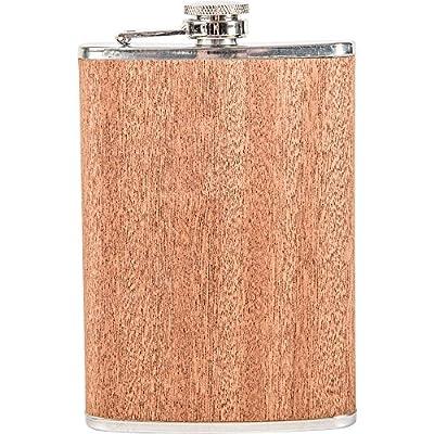 Maxam 8oz Stainless Steel Flask W/sapele Wood Wrap